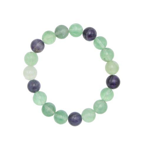 bracelet fluorite multicolore pierres boules 10mm