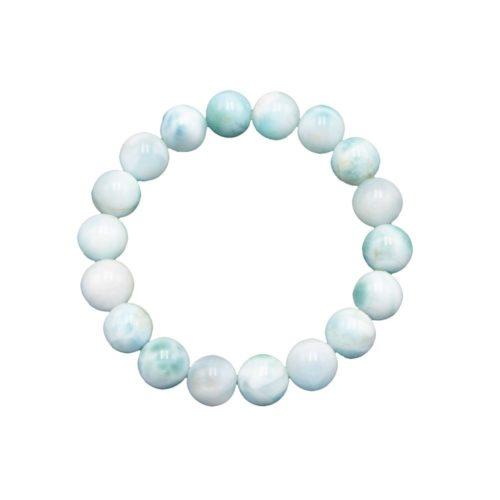 bracelet larimar pierres boules 10mm