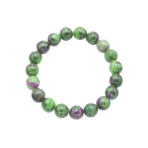 bracelet rubis sur zoisite pierres boules 10mm