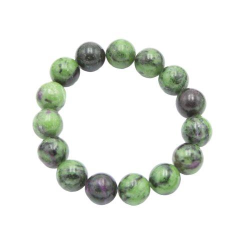 bracelet rubis sur zoisite pierres boules 12mm
