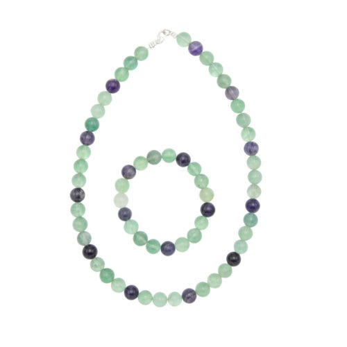 coffret fluorite multicolore pierres boules 10mm