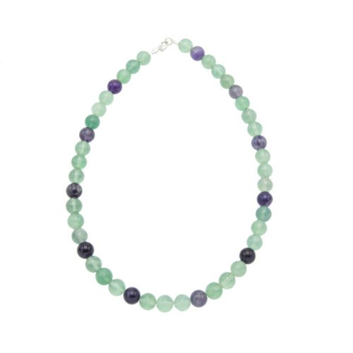 collier fluorite multicolore pierres boules 10mm