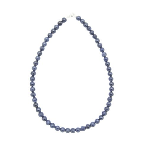 collier saphir pierres boules 8mm