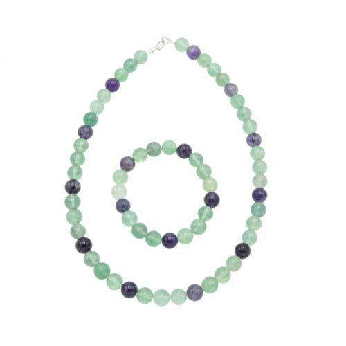 parure fluorite multicolore pierres boules 10mm