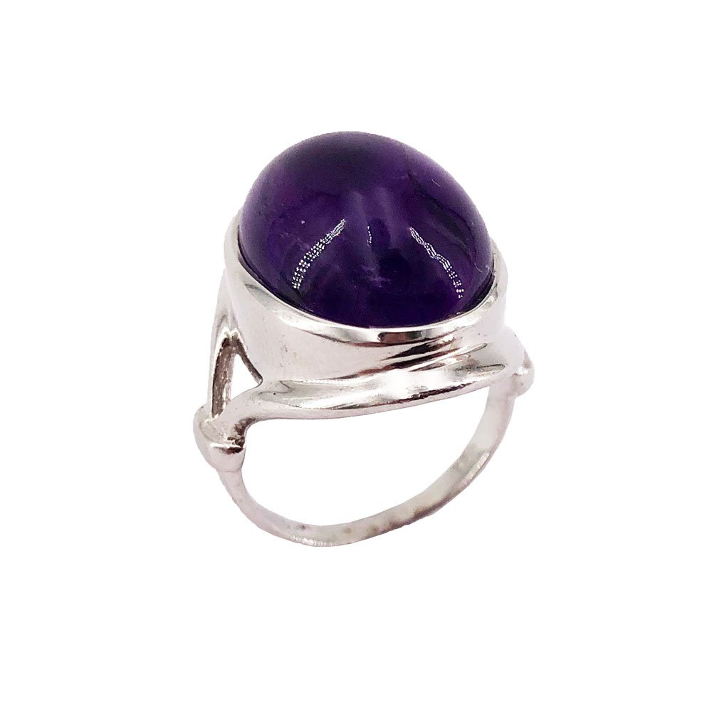 Croix latine ovale lavande violet opale de feu Cabochon Argent Collier Pendentif