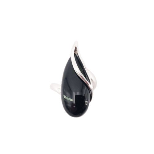 bague onyx noir argent