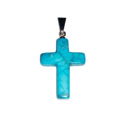 pendentif howlite bleue croix