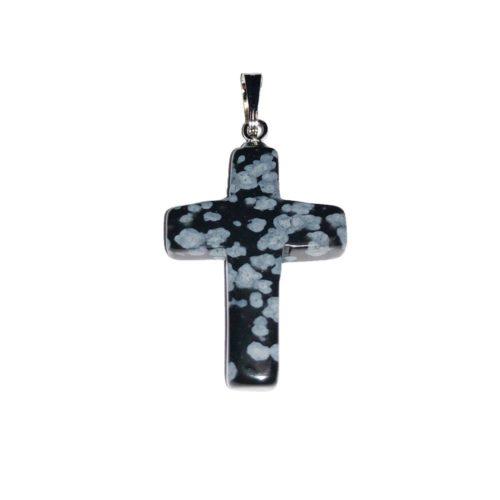 pendentif obsidienne neige croix