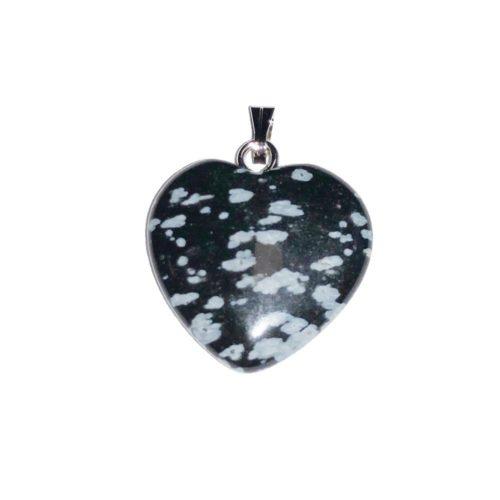 pendentif obsidienne neige coeur