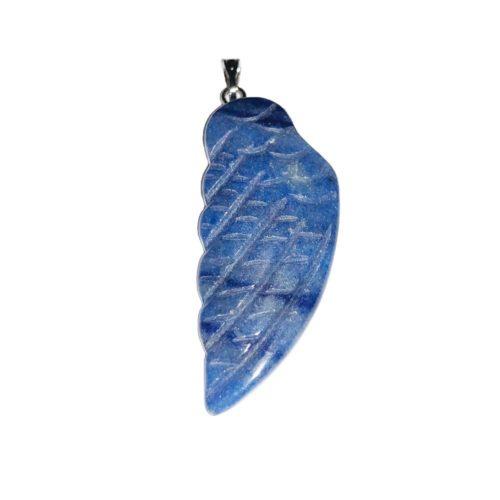 pendentif quarte bleu aile d'ange