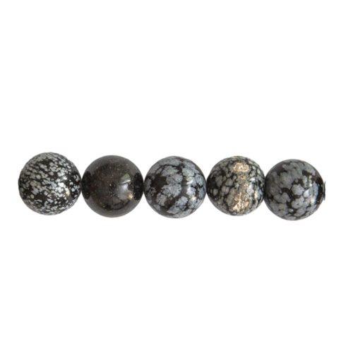perle ronde obsidienne neige 10mm