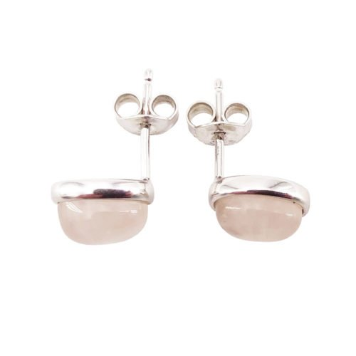 boucle oreille quartz rose argent rhodie