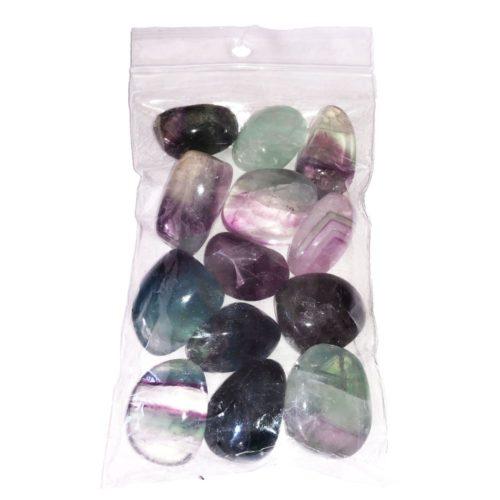 sachet pierres roulées fluorite multicolore 250grs
