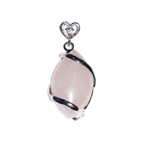 pendentif quartz rose oeil de cheval