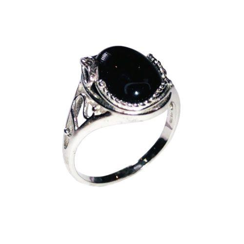 bague onyx noir argent rhodie