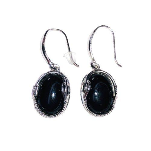 """Boucles d'Oreilles Onyx noir """"Capucine"""" - Argent 925"""