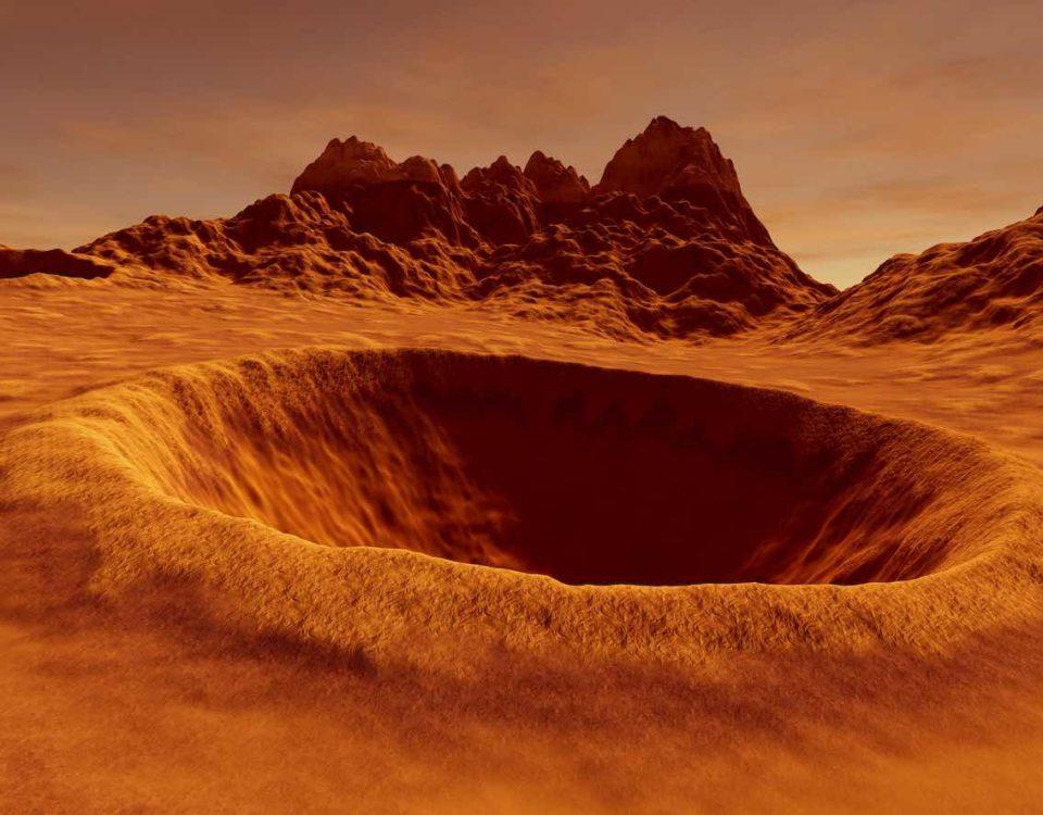 cratere sur Mars