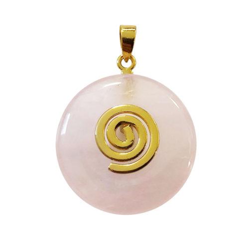 pendentif pi chinois donut quartz rose doré 20mm