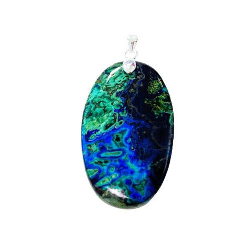 pendentif azurite pierre plate