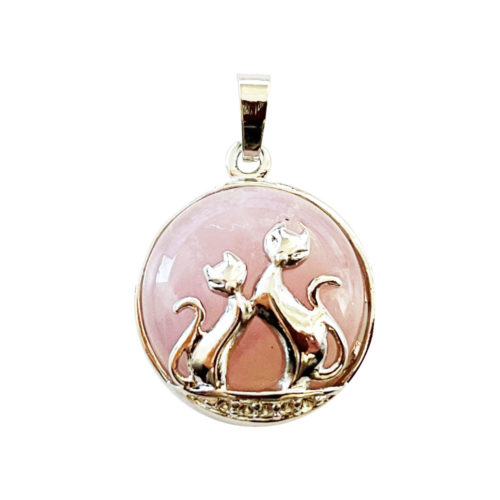 pendentif quartz rose chat
