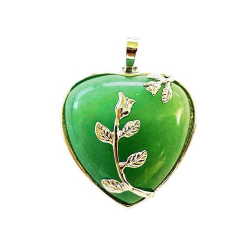 Pendentif Aventurine verte Coeur fleuri