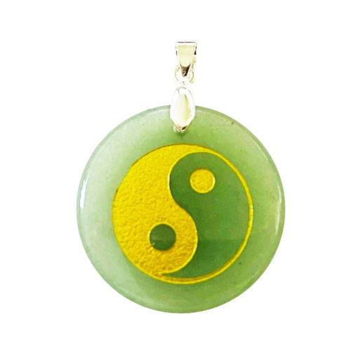 Pendentif Aventurine verte Taoïste Yin-Yang