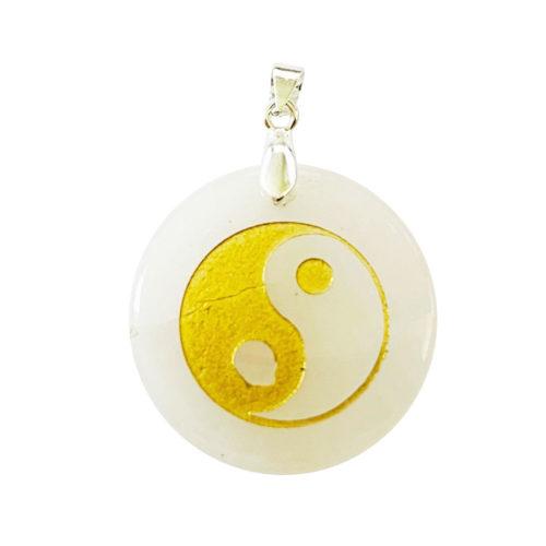 Pendentif Cristal de roche Taoïste Yin-Yang
