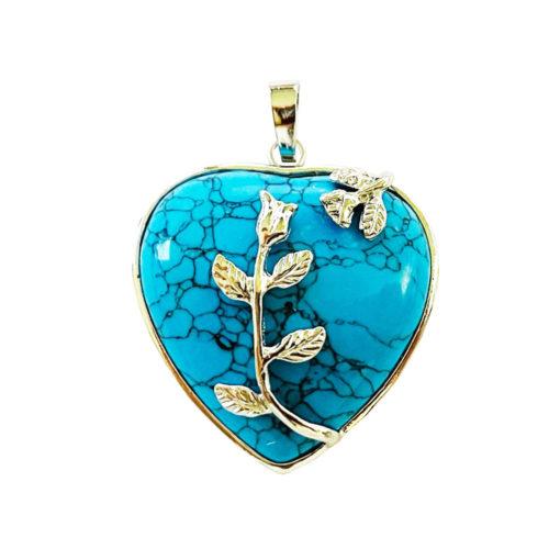 Pendentif Howlite bleue Coeur fleuri