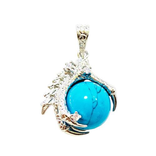 Pendentif Howlite bleue Main de Dragon