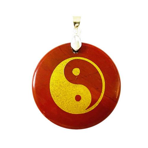 Pendentif Jaspe rouge Taoïste Yin-Yang