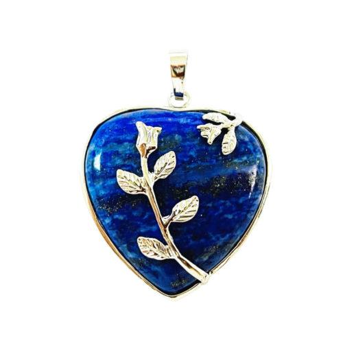 Pendentif Lapis-lazuli Coeur fleuri