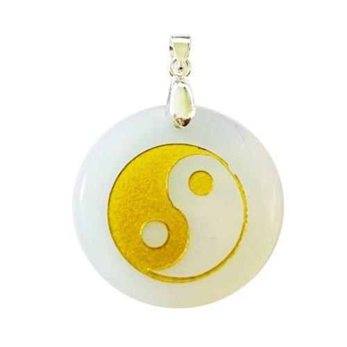 Pendentif Opale synthétique Taoïste Yin-Yang