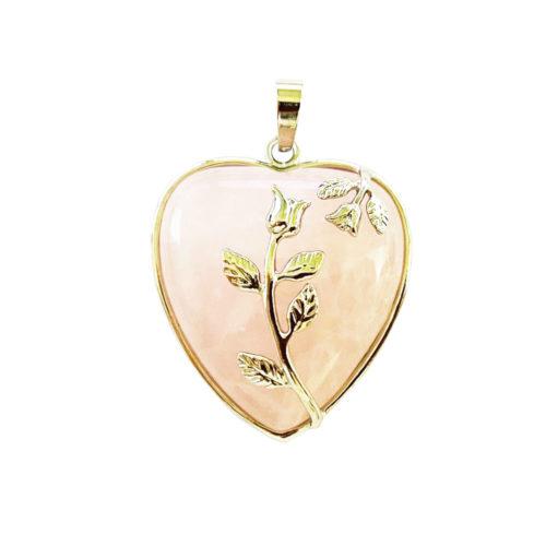 Pendentif Quartz rose Coeur fleuri