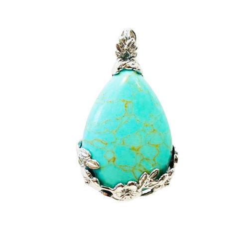 pendentif turquoise stabilisée goutte fleurie