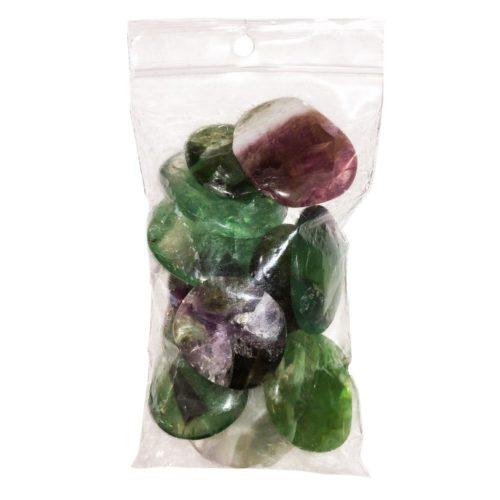 sachet pierres plates fluorite multicolore