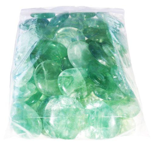 sachet pierres plates fluorite verte