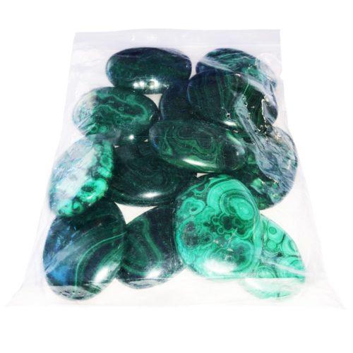 sachet pierres plates malachite