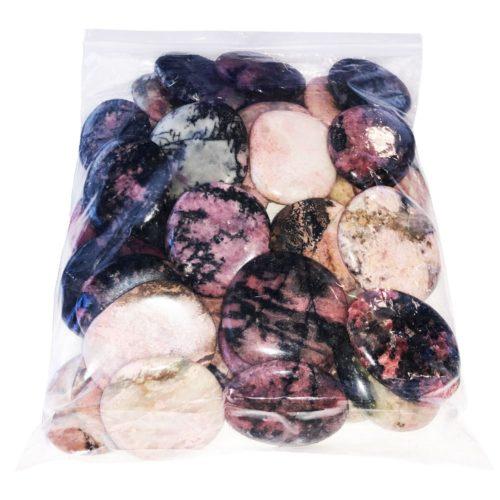 sachet pierres plates rhodonite