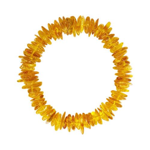bracelet ambre jaune 19cm