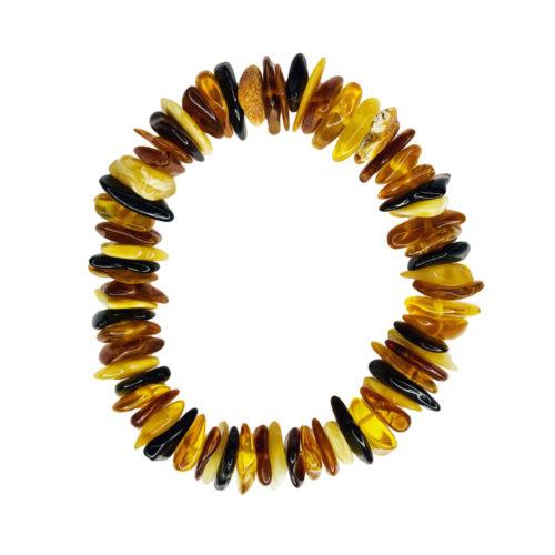 bracelet ambre multicolore 19cm
