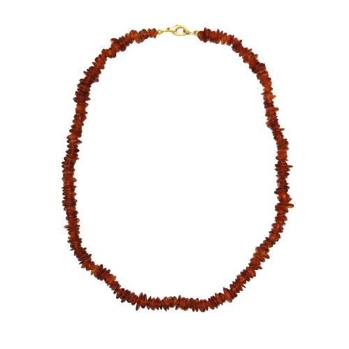 collier ambre cognac baroque 46cm