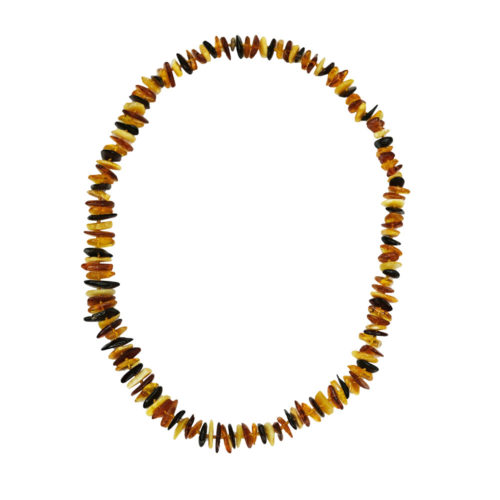 collier ambre multicolore baroque 60cm