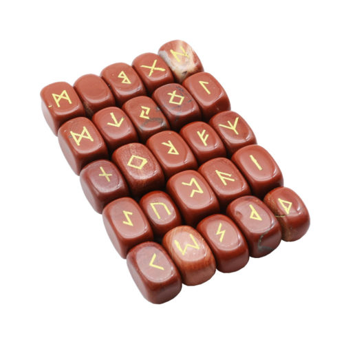 jeu de 25 runes jaspe rouge