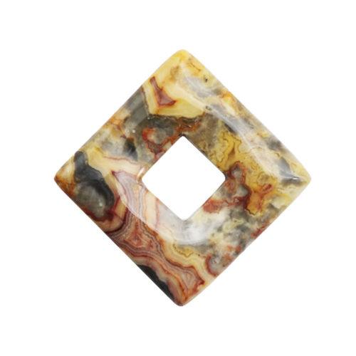 pendentif pi chinois ou donut agate crazy lace carré
