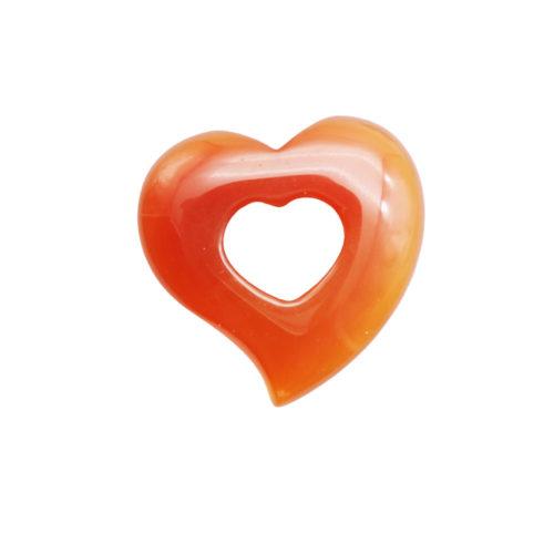 pendentif pi chinois ou donut cornaline coeur