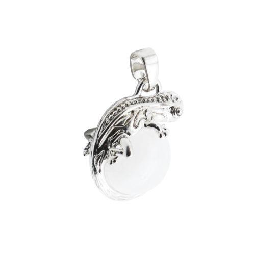 pendentif cristal de roche lezard