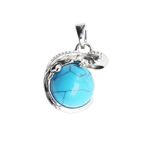 pendentif howlite bleue lezard