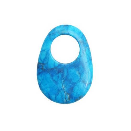 pendentif pi chinois ou donut howlite bleue oval