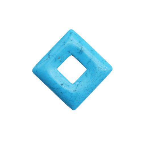 pendentif pi chinois ou donut howlite bleue petit carré