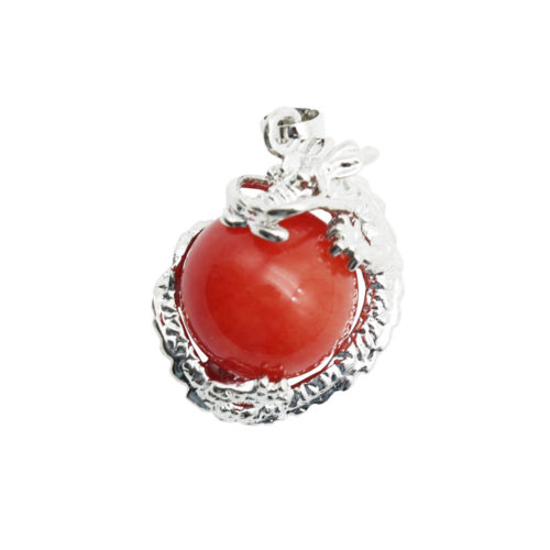 pendentif jade rouge dragon